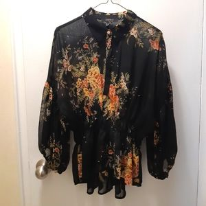 Forever 21 ❤ Contemporary Blouse, US M, Black